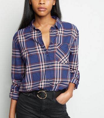 Tall Blue Check Cotton Shirt