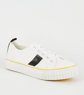 White Side Stripe Lace-Up Trainers