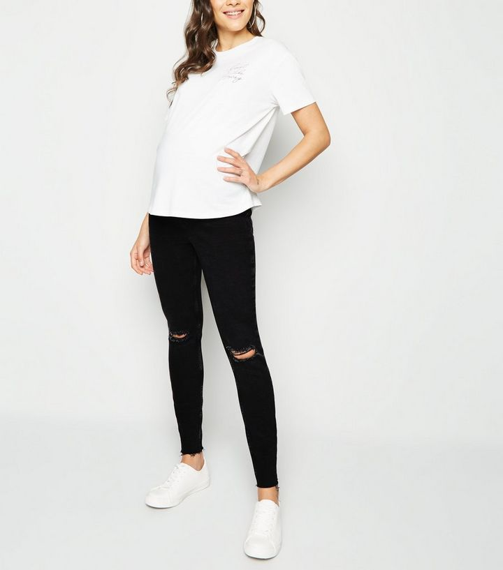 f97c761f8376c Maternity Black Ripped Knee Over Bump Skinny Jeans | New Look