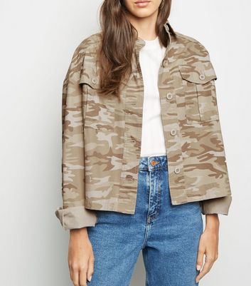 Tall Stone Camo Cropped Utility Jacket