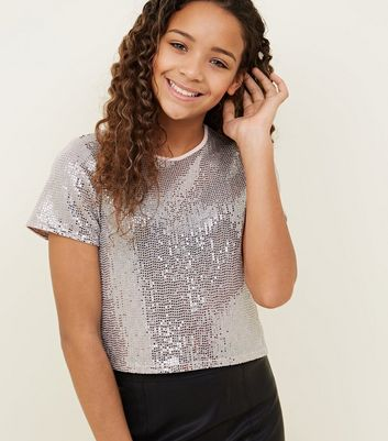 Girls Pale Grey Mirrored Sequin Boxy T-Shirt