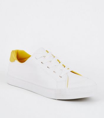 White Leather-Look Contrast Panel Trainers