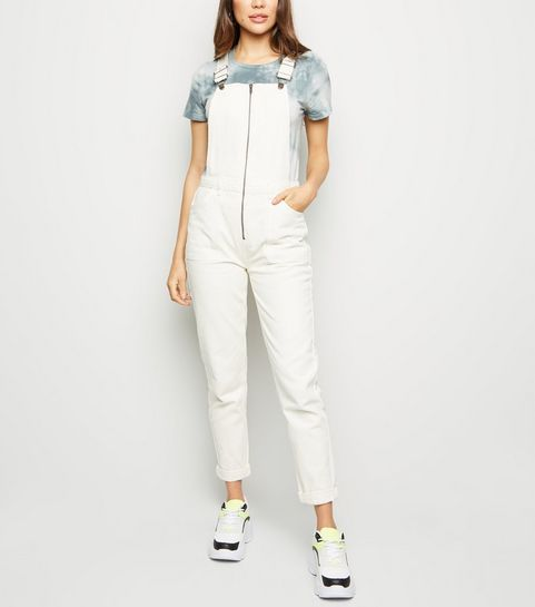 ... Off White Zip Front Denim Dungarees ... e257996b09