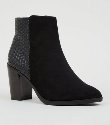 Wide Fit Black Suedette and Woven Block Heel Boots
