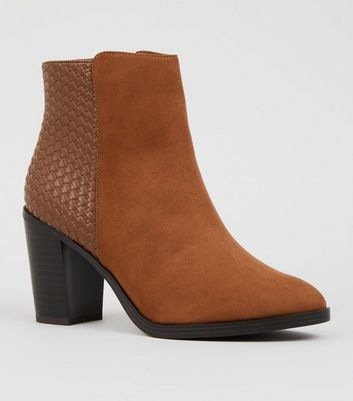 Wide Fit Tan Suedette and Woven Block Heel Boots