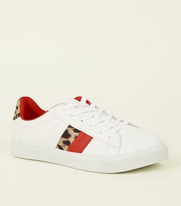 White Leopard Print Red Stripe Lace-Up Trainers