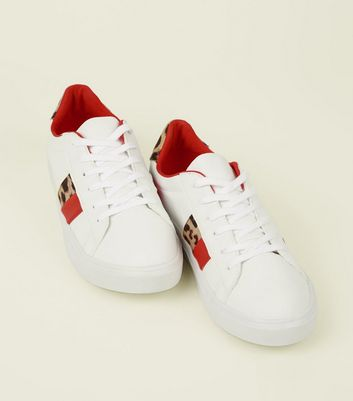 White Leopard Print Red Stripe Lace-Up