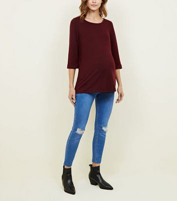 Maternity Bright Blue Over Bump Ripped Knee Jeans