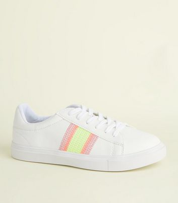 White Neon Cross Stitch Side Lace-Up Trainers