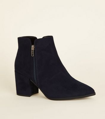 Wide Fit Navy Soft Suedette Notch Ankle Boots