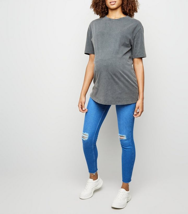 6573f0ef1d56e Maternity Blue Ripped Over Bump Skinny Jeans | New Look
