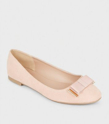 Wide Fit Nude Metal Trim Bow Ballet Pumps