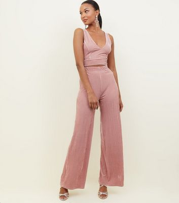 Pink Ribbed Velvet Trousers