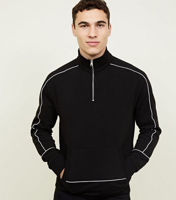 Black Zip Funnel Neck Piped Sleeves Sweatshirt