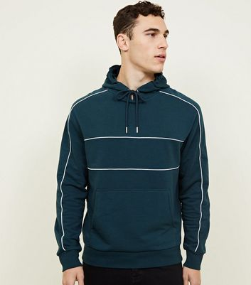 Teal Pocket Front Piped Detail Hoodie