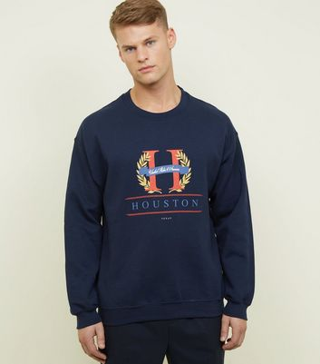 "Marineblaues Sweatshirt mit grafischem ""Houston""-Logo"