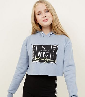 Girls Grey NYC Box Print Hoodie