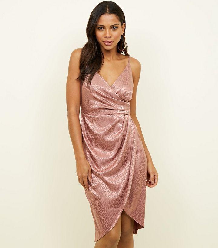 00661f426ba Pink Satin Leopard Print Wrap Dress
