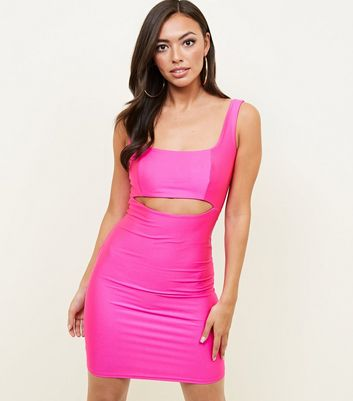 Bright Pink Cut-Out Bodycon Dress