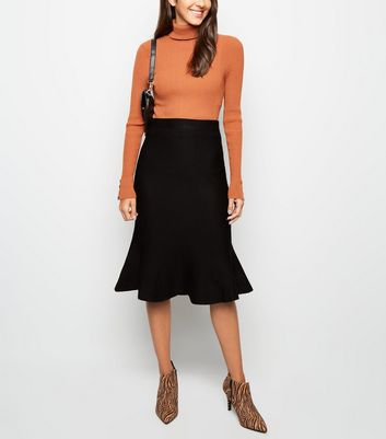Black Knit Fishtail Hem Midi Skirt