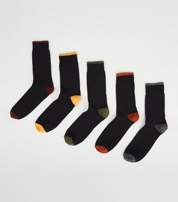 5 Pack Black Tipped Socks