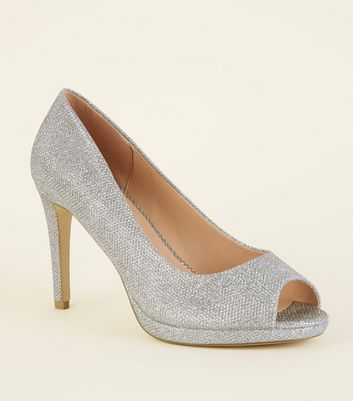 Wide Fit Silver Glitter Peep Toe Court Heels