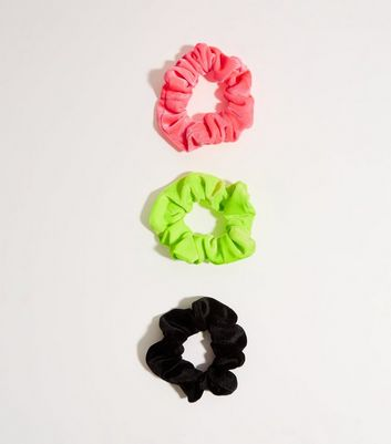 3 Pack Multicoloured Neon Velvet Scrunchies