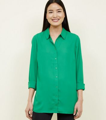 Green Crepe Long Sleeve Shirt