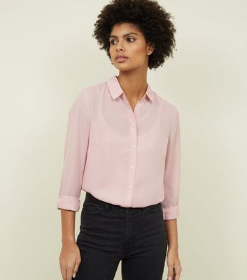 Pale Pink Crepe Long Sleeve Shirt