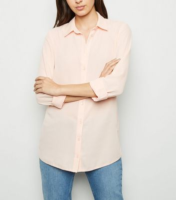 Coral Crepe Long Sleeve Shirt