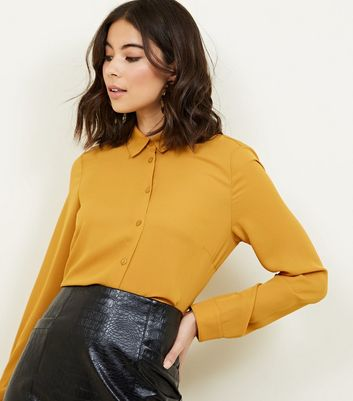 Mustard Crepe Long Sleeve Shirt