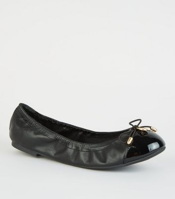 Wide Fit Black Patent Toe Elasticated Ballet Pumps