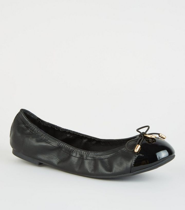 bf3672552c3 Wide Fit Black Patent Toe Elasticated Ballet Pumps