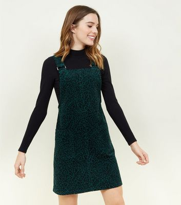 Green Leopard Print Corduroy Pinafore Dress