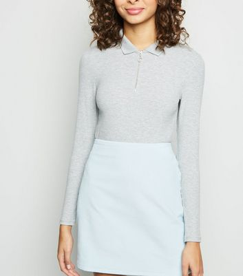 Pale Blue Corduroy Pocket Side Mini Skirt