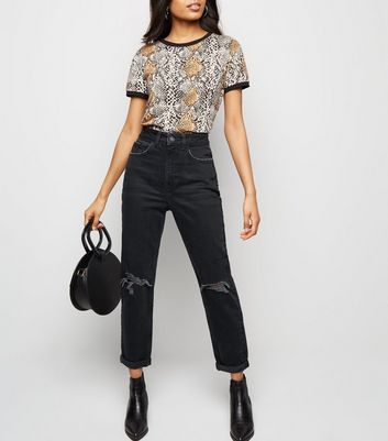 Petite Black Ripped Knee Mom Jeans