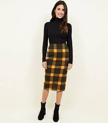 Black and Mustard Check Pencil Midi Skirt
