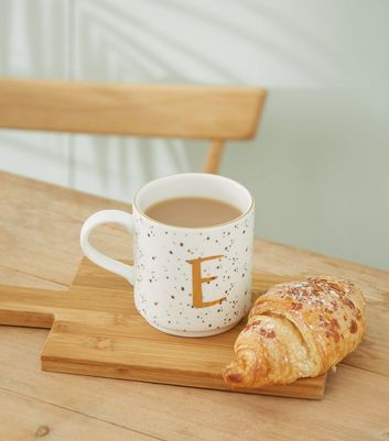 White Speckled E Initial Mug