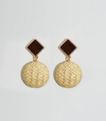 Brown Wicker and Wood Drop Earrings