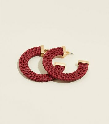 Burgundy Raffia Hoop Earrings