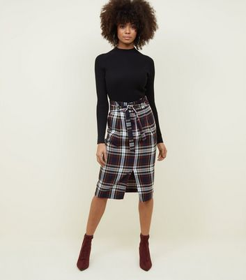 Navy Check Paperbag Midi Skirt