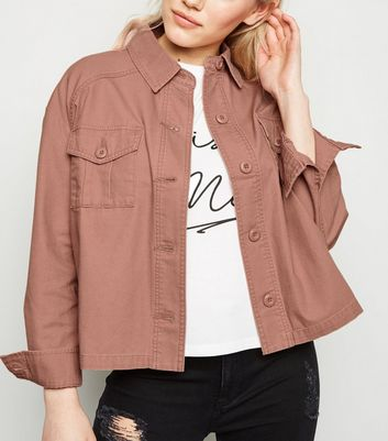 Petite Pink Cropped Utility Shacket
