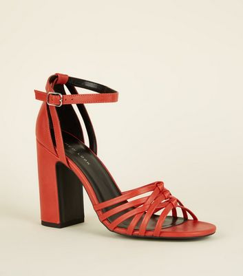 Orange Leather-Look Woven Strap Block Heels