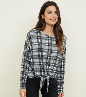 Light Grey Check Tie Front Top