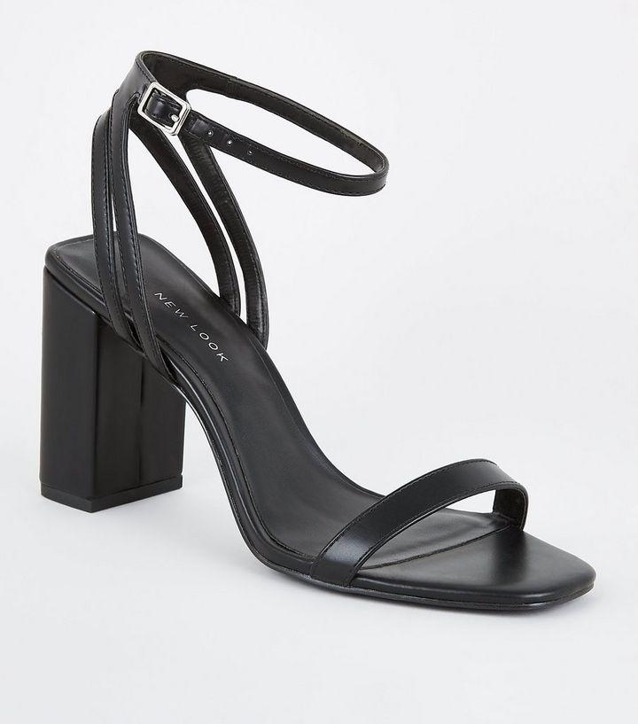3da3c2f05fd Black Double Back Strap Block Heel Sandals
