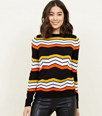 Black Chevron Stripe Pointelle Jumper