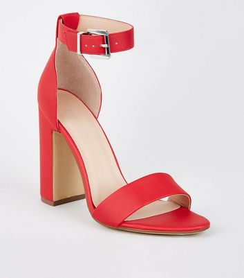 Red Square Silver Buckle Heeled Sandals