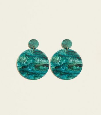 Green Glitter Disc Resin Earrings