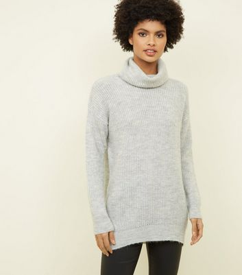 Pale Grey Roll Neck Slouchy Jumper
