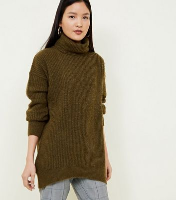 Khaki Roll Neck Slouchy Jumper